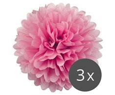 PomPoms 3er Set (Pompons) VIELE FARBEN 20/30cm DIY Deko für Party, Hochzeit oder Baby Shower | Pom-Poms (Ponpons) von Simplydeko (Pink, 30 cm)