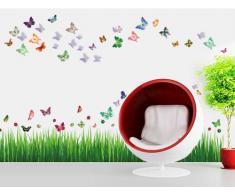 Walplus - Wandaufkleber Sticker Papier Kunst Dekoration Gras Marienkäfer Schmetterling Farbig 3D