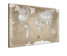 Lana KK - Weltkarte Natur - edel Leinwand Bild Kunstdruck auf Keilrahmen, fertig gerahmt in 60 x 40 cm, einteilig