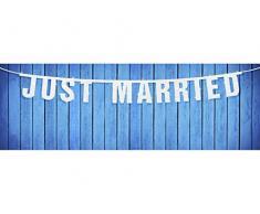 Große Girlande Just Married weiss-glitzer Deko Hochzeit Hochzeitsgirlande