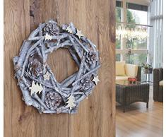 Mendler Türkranz Tannenzapfen rund, Dekokranz Weihnachtsdeko Kranz, Holz Ø 30 weiß-grau