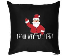 Weihnachten Deko Nikolaus Kissen mit Innenkissen - FROHE WEIHNACHTEN! Advent Geschenk Idee 40x40cm schwarz : )