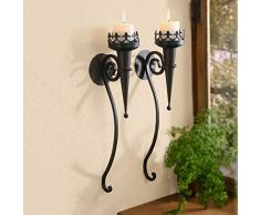 SIDCO Wand Kerzenhalter 2 x Fackel Metall Wandleuchter Wandfackel Kerzenleuchter