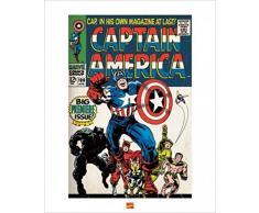 1art1 49619 Captain America - Erste Ausgabe, Marvel Comics Poster Kunstdruck 50 x 40 cm