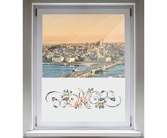 INDIGOS UG Sichtschutzfolie Glasdekorfolie Fensterfolie mit Motiv satiniert blickdicht - d144 Schmetterlinge Ranke Pflanze - 1000 mm Länge - 500 mm Höhe Viereck