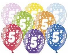 SiDeSo® 10 Luftballons 12 Party Geburtstag Jahrestag (Zahl 5)