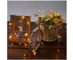 2 Stück Lichterkette FeiliandaJJ 5M 50LED Deko Lichterkette,8 Modus wasserdicht Lichterkette für Zimmer, Kinderzimmer, Garten, Balkon, Weihnachten, Halloween, Hochzeit mit Fernbedienung (Gelb)