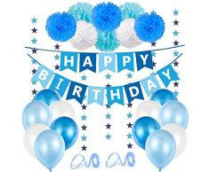 Geburtstagsdeko Jungen Blau, Kindergeburtstag Deko Jungen, Blau Geburtstag Babyparty Dekoration Set, Happy Birthday Wimpelgirlande, 8 Pompoms, 6 Meter Girlande, 24 Luftballons Blau Weiß, 2 Bänder