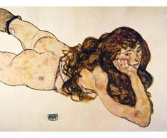 1art1 87035 Egon Schiele - Auf Dem Bauch Liegender Weiblicher Akt, 1917 Poster Kunstdruck 80 x 60 cm