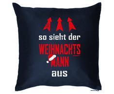 Weihnachten Deko Nikolaus Kissen mit Innenkissen - WEIHNACHTSMANN Advent Geschenk Idee 40x40cm blau : )