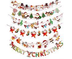 SERWOO 6 Stück Weihnachten Girlande Banner Wimpelkette Papier Girlande Weihnachtsgirlande Merry Christmas Girlande Weihnachtsmann Schneemann Weihnachten Deko (2.7M / Jede Girlande)
