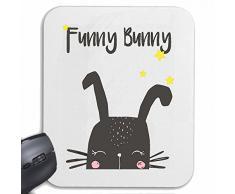 Mousepad (Mauspad) FUNNY BUNNY LUSTIGER HASE OSTERHASE KANINCHEN ZWERGKANINCHEN WILDKANINCHEN für ihren Laptop, Notebook oder Internet PC .. (mit Windows Linux usw.) in Weiß