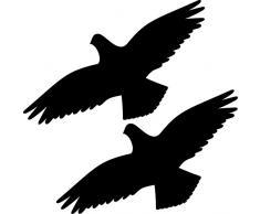 2 Stück 30cm schwarz Habicht Greifvogel Vogel Fenster Schutz Warnvogel Warnvögel Aufkleber Tattoo die cut Deko Folie