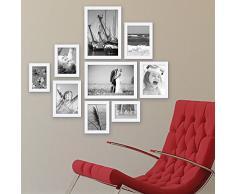 9er Set Bilderrahmen Weiss Modern Massivholz-Rahmen mit Glasscheibe und Zubehör / 10x15, 13x18, 15x20 und 20x30 cm / Fotorahmen