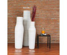 Leewadee Große Bodenvase für Dekozweige hohe Standvase Design Holzvase, 30x112 cm, Holz, White Washed