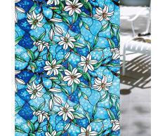 Shackcom Fensterfolie Selbsthaftend Blickdicht Sichtschutz Sichtschutzfolie Statisch Haftend Anti-UV Dekorfolie für Bad Küche Büro Zuhause 90x200cm G001