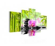 Bilder Orchidee Feng Shui Wandbild Vlies - Leinwand Bild XXL Format Wandbilder Wohnzimmer Wohnung Deko Kunstdrucke Pink 5 Teilig - MADE IN GERMANY - Fertig zum Aufhängen 502053a