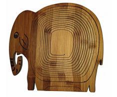 Obstkorb Design: Elefant Elefantenkuh Elefantendame, wunderschöner Klappkorb Bamboo 30 x 30 cm aus Bambusholz Faltkorb Holzkorb Korb Schale aus Bambus Obstkorb Dekoschale Obstschale Holz faltbar Gemüseschale Obstteller, ideal