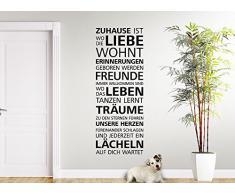 Grandora W5084 Wandtattoo Zitat Zuhause ist wo die Liebe wohnt ... Wandaufkleber dunkelgrau (BxH) 49 x 130 cm