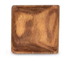 levandeo Holzschale Akazie 15x15cm Quadratisch Tischdeko Deko Teller Holzteller Snackschale Schale Obstschälchen