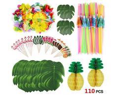 Howaf 111 Stück Tropical Party Dekoration Lieferungen, Tropical Palm Monstera Blätter und Hibiskusblüten, Strohhalme, Ananas, Cupcake Topper für Hawaii Luau Party Thema Tischdekoration