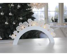 "Star LED-Leuchtbogen ""Snowfall"", 5 warmweiß LED, Material Holz, Vierfarb-Karton, 38 x 26 cm, weiß / gold 658-10"