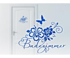 Grandora W764 WC Türaufkleber Badezimmer + Hibiskus und Schmetterlinge Bad Wandtattoo schwarz 20 x 16 cm