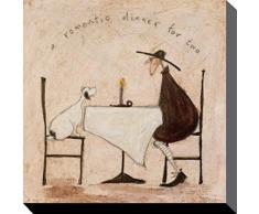 1art1 64321 Sam Toft - Mr Mustard Und Doris, Ein Romantisches Abendessen Zu Zweit Poster Leinwandbild Auf Keilrahmen 40 x 40 cm