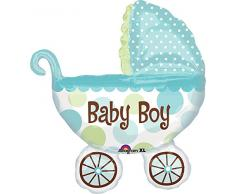Anagram 1795201 - Party und Dekoration - Folienballon Super Shape - Kinderwagen - Baby Boy, circa 71 x 79 cm