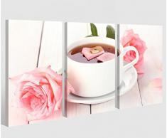Leinwand 3 tlg. rosa Rose Tee Tasse Blume Küche Essen Bilder Wandbild 9A413, 3 tlg BxH:90x60cm (3Stk 30x 60cm)