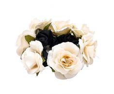 Damen Haargummi mit Rosen-Blume, elastisch, als Party-Dekoration, Geschenk