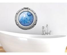 Graz Design 651017_30 Wandsticker Wandtattoo Wandaufkleber Badezimmer Bullauge Wasser Blasen WC (Größe=30x30cm)