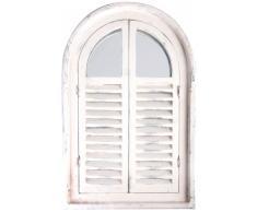 Esschert Design Wandspiegel, Garderobenspiegel mit Fenstertüren, Fensterläden in antik-weiß, Rahmen aus Holz, ca. 37 cm x 59 cm