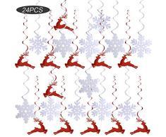 (L: 80cm) 24 Stück Weihnachten Girlande hängende Spirale Girlande Banner Weihnachten Dekoration Partydeko Deckenhänger Girlande Rot Weiß Schneeflocke Hirsch für Weihnachten Party Deko