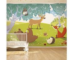 Vlies Fototapete 350x245 cm ! Top - Tapete - Wandbilder XXL - Wandbild - Bild - Fototapeten - Tapeten - Wandtapete - Wand - für Kindertapete Kinderzimmer Kinder Wald Tiere e-A-0031-a-a