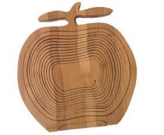 GMMH Faltkorb Bambus Obstkorb Dekoschale Obstschale Holz faltbar (Design Apfel/2)