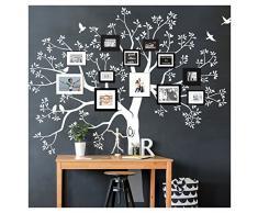 Grandora W5483 Wandtattoo XXL Baum I Silbergrau (BxH) 200 x 195 cm I Flur Wohnzimmer Aufkleber Wandaufkleber selbstklebend Wandsticker