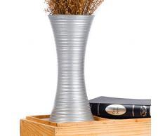 Leewadee Kleine Bodenvase für Dekozweige hohe Standvase Design Holzvase, 41 cm, Mangoholz, Silber