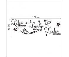 Wandtattoo Zitat Lebe... Lache... Liebe... + Schmetterlinge & Blumen schwarz 127 x 43 cm