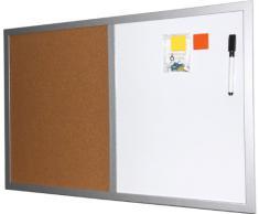 Magnettafel / Pinnwand (Kombiboard), 40x60 cm, mit silberfarbenem Holzrahmen