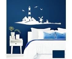 Grandora Wandtattoo Skyline Strand Leuchtturm Möwen I dunkelblau (BxH) 58 x 24 cm I Schlafzimmer Wohnzimmer Sticker Aufkleber Wandaufkleber Wandsticker W946
