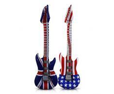 12 x HC-Handel 910774 Aufblasbare Gitarre Luftgitarre 100 cm USA oder England Rock