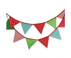 G2PLUS Schöne Wimpelkette 3.3M Wimpel Girlande mit 12 Wimpeln in Dreiecksform für Kindergeburtstagsfeier; Weihnachtsfest
