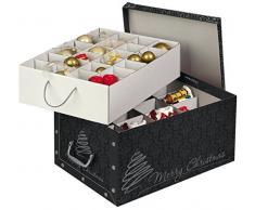 Kreher Weihnachtlicher XL Deko Karton mit Einsätzen für ca. 40 Weihnachtskugeln. Aus stabiler Pappe mit Griffen aus Kunststoff. In Schwarz mitMerry Christmas Schriftzug. Edel !