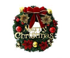VOSAREA Weihnachtskranz mit Schleife Weihnachtskugel und Blumen Tannenkranz Weihnachtsgirlande Weihnachten Türkranz Wandkranz Türdeko Wanddeko Weihnachtsdeko