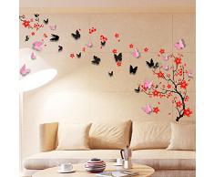 Walplus Wand Sticker Pink & Schwarz 3D Schmetterlinge & Rot Blüten Abnehmbare Selbstklebend Wandkunst Aufkleber Vinyl Heim Dekoration DIY Wohnzimmer Schlafzimmer Büro Dekor Tapete Kinderzimmer
