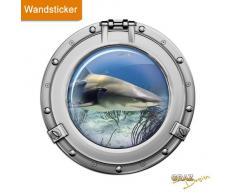 Graz Design 651015_40 Wandsticker Wandtattoo Wandaufkleber Badezimmer Bullauge weißer Hai Meer
