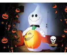 infactory Halloween aufblasbar: Selbstaufblasender Halloween-Geist mit Beleuchtung, 120 cm hoch (Aufblasbare Halloween Figuren)