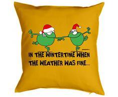 Weihnachten Geschenk Idee Kissen mit Innenkissen - WINTERTIME Advent Deko Nikolaus 40x40cm gelb : )