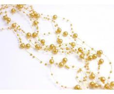 Perlengirlande goldgelb gelb 5 Stück á 1,3m Tischdeko Hochzeit Taufe Weihnachten